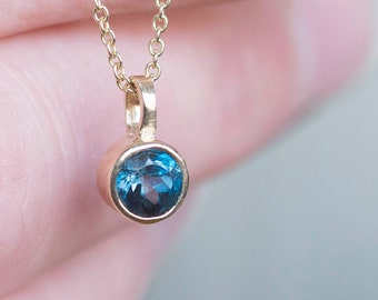 London Blue Topaz Necklace | Solid Gold Pendant | Blue Topaz Pendant |  Bezel Set Blue Topaz Necklace | December Birthstone Jewelry