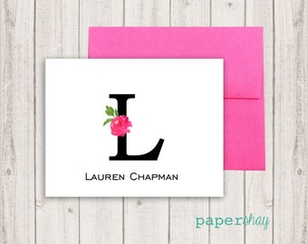 Personalized Stationery, Personalized stationary, Flamingo, Monogram stationery, Monogram Note Cards, Personalized Notecard, Fold Over Cards
