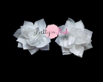 White Kanzashi Flower- You Choose Quantity- DIY Headband Supplies- Flower- Wholesale- By the Piece- Supply Shop- Applique- Prettyinpink