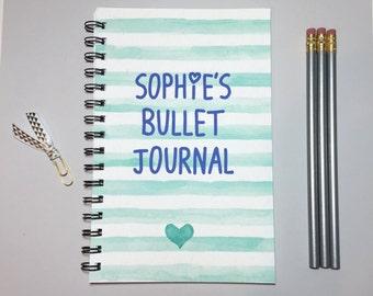 Bullet Journal, Journal, Spiral Notebook, Personalized Bullet Journal, Personalized Book, Spiral Journal, Writing Journal, Gift, Preppy,