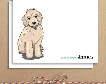 Labradoodle Note Cards - Folded Note Cards - Personalized Stationery - Dog Stationery - Thank You Notes - Illustrated Note Cards
