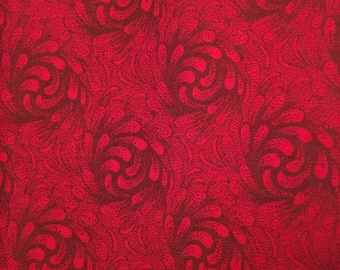 Quilting Cotton Fabric, Dark Red Cotton Fabric, Swirls and Leaves Fabric, 18 x 21