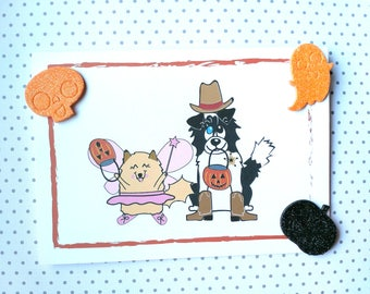 Pets Trick or Treating Card, Halloween Card, Pet Lover Card, Pets in Costume Cards