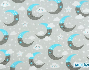 Moon fabric, stars natural cotton fabric By the Yard Eco Friendly moon print Fabric Organic Knit grey