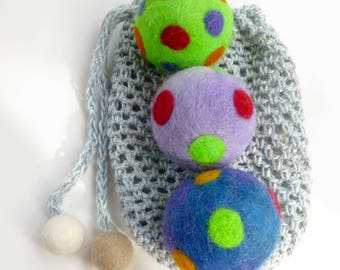 Juggle balls felted toy balls set of three in pouch