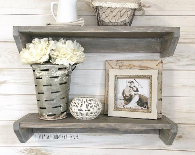 Floating Shelves - Set of Two Floating Shelves - Wood Shelves - Wood Floating Shelves - Farmhouse shelf - Wall Decor