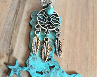 Turquoise Cowboy Boot Pendant, Dreamcatcher, Cowgirl Necklace, Barrel Racing, Rodeo