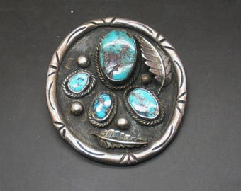 Silver and Turquoise Pendant Vintage Southwest Signed by Artist