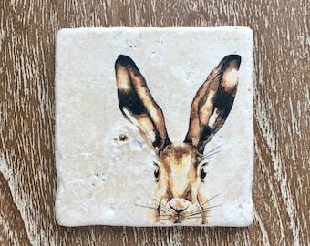 Hare | Rabbit ~ Natural Stone Coaster
