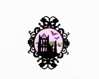 Whitby abbey cameo brooch