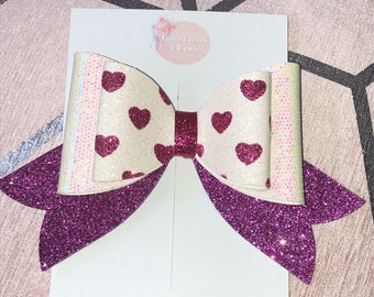 pink and white heart french bow, pink glitter bow, girls hair bow, big bow