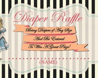 Alice in Wonderland Diaper Raffle Ticket