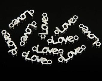 silver metal LOVE 10 connectors