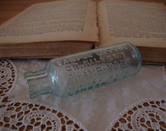 "Antique 1890's ""DR KILMER'S Swamp Root Kidney Cure""  LONDON Sample Medicine Bottle - Aqua Glass - Victorian Apothecary - Quack Dr. Remedy"
