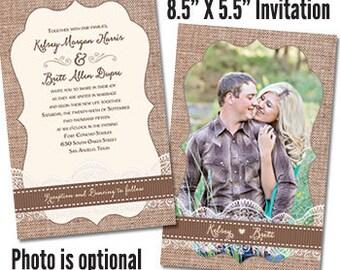 Rustic Wedding Invitations Photo Wedding Invites Wedding Invitation Rustic Photo (photo optional)