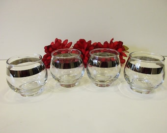 Vintage Libbey Roly Poly Silver Platinum Band Set of 4 Glasses Mad Men Style