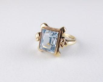 Vintage 10k Ring with Blue Topaz Stone, Size 6