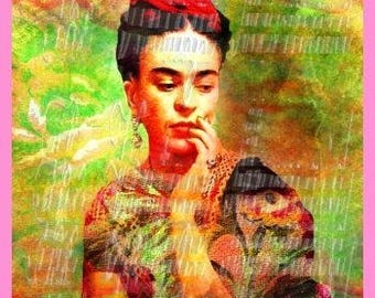 Cotton Fabric Block Mexican Art Frida Kahlo Altered Art Self Portrait Quilting Sewing Fk120