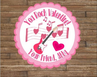 Personalized Valentine Stickers - Valentine Tags -YOU ROCK Valentine Stickers - Guitar Valentine's Day - Rock and Roll Valentine's Day