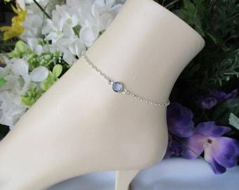 Something Blue Bridal Anklet-Sterling Silver Anklet-Something Blue-Light Sapphire Anklet-Bridal Jewelry-Wedding Anklet-Bridal Shower Gift
