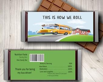 School Bus Driver Appreciation Candy Bar Wrapper, Bus Driver Gift, End of Year Gift, Bus Driver Thank You