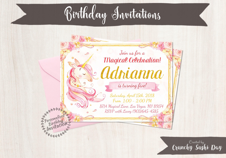 Unicorn Birthday Invitations, Unicorn Birthday Party, Customizable ...