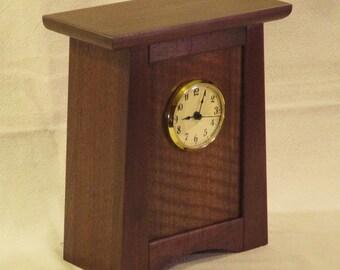 Arts & Crafts, Mission Style Clock - Walnut / QS Sapele
