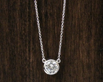 0.80 ct.w Lovely Solitaire Pendant Necklace-6.0mm Brilliant Cut Diamond Simulant-Bridal & Wedding Necklace-Solid Sterling Silver [8401N]
