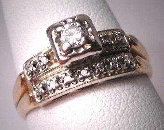 Antique Diamond Wedding Ring Set Vintage Art Deco 14K