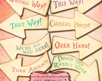 Alice in Wonderland Party Signs, Wonderland Arrow Signs, Alice Birthday Decoration, Printable Signs, INSTANT DOWNLOAD
