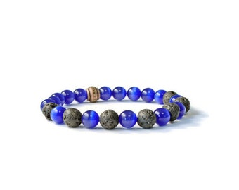 Essential Oils Diffuser Stretch Bracelet, Blue Cat's Eye with Natural Lava Stones, Diffusing Jewelry