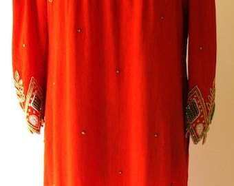 exquisite VINTAGE royal boutique copper emerald bejeweled beaded orange exotic indian asian dress, 3/4 sleeves, puffed & padded sz m ld-682