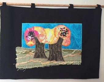 My Secret Orchard Fiber Art, Fiber Art, Textile Landscape, Orchard Art, Custom fabric Art, Gardener's Gift, Summer Landscape Art
