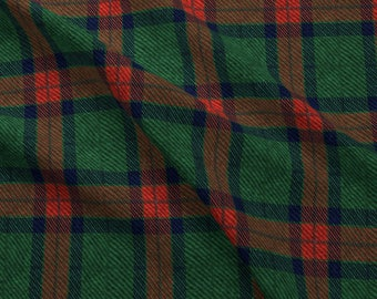 Dark Green and Red Plaid Fabric - Traditional Tartan By Willowlanetextiles - Holiday Plaid Cotton Fabric By The Yard With Spoonflower