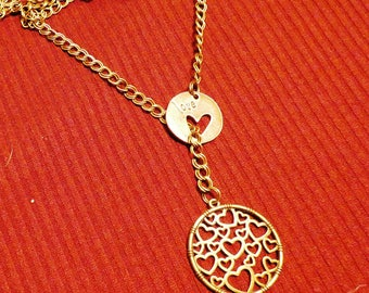 """Gift for Unisex, for her and him - necklace chain with pendates""""Love""""and""""Heart"""""""
