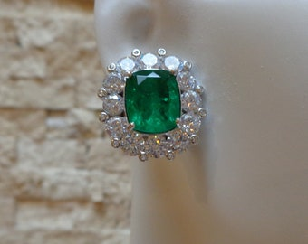 16 Carat Emerald Doublet stud earrings in Sterling Silver and CZ