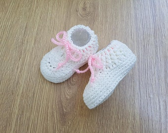 Crochet Baby booties Girl Infant shoes Newborn Booties White Cotton Socks Baby Shower Gift for Baby