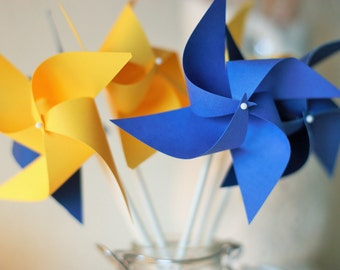 Beauty and the Beast Favors, Beauty and the Beast Decoration, 12 mini pinwheels Blue and Yellow Wedding decorations, Custom orders welcomed