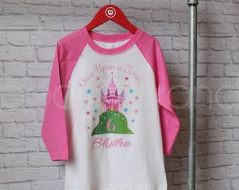 Personalized Fairy Tale Birthday Shirt - Personalized Princess Birthday Shirt - Once Upon a Time Shirt - Birthday Raglan - by Pocketbrand