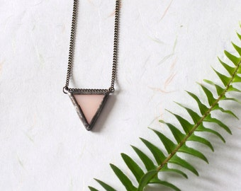 Delicate stained glass peach triangle pendant
