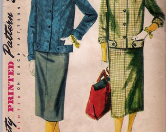 Vintage 1954 Simplicity 4871 Two Piece Suit Sewing Pattern Size 14 Bust 32""