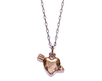 """Men's Jewelry """"The Heart and the Hunter"""" Necklace for men - Heart necklace for men - Bronze heart - Gift for men - Men's heart necklace"""
