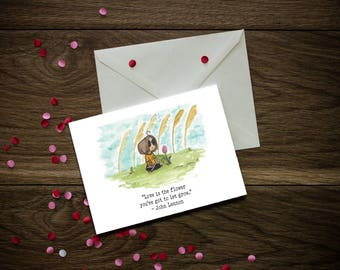 Valentine's Day Cards - Flower Puns - Music Puns - 5x7 in with A7 White Envelope