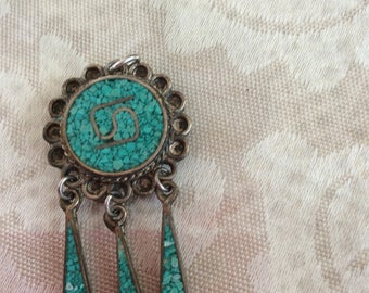 Sterling and Micro Mosaic Turquoise Dangle Carm
