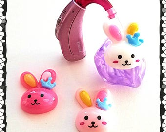 Hearing Aid Tube Trinkets:  Adorable Easter Bunnies!  Please select quantity 2 for a pair!
