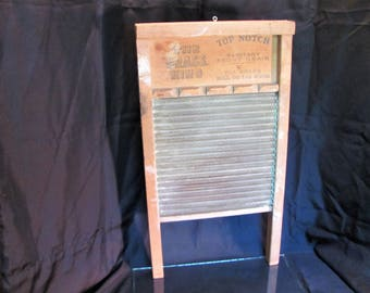 Antique Brass and Wood Wash Board / Brass King National Washboard Co./ Farmhouse Decor