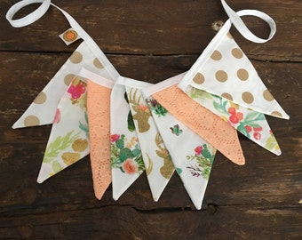Corail gold deer succulent bunting flags fabric garland