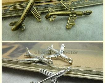 30 airplane charm pendant 15x24mm antique bronze / antique silver wholesale zinc alloy charms necklace charms bracelet charms earring charms