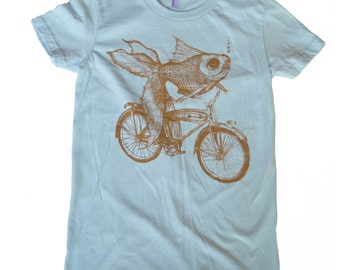Goldfish on a Bicycle- Womens T Shirt, Ladies Tee, Tri Blend Tee, Handmade graphic tee, sizes s-xL