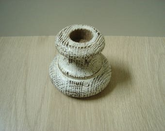 Small candle holder rustic bleached wood
